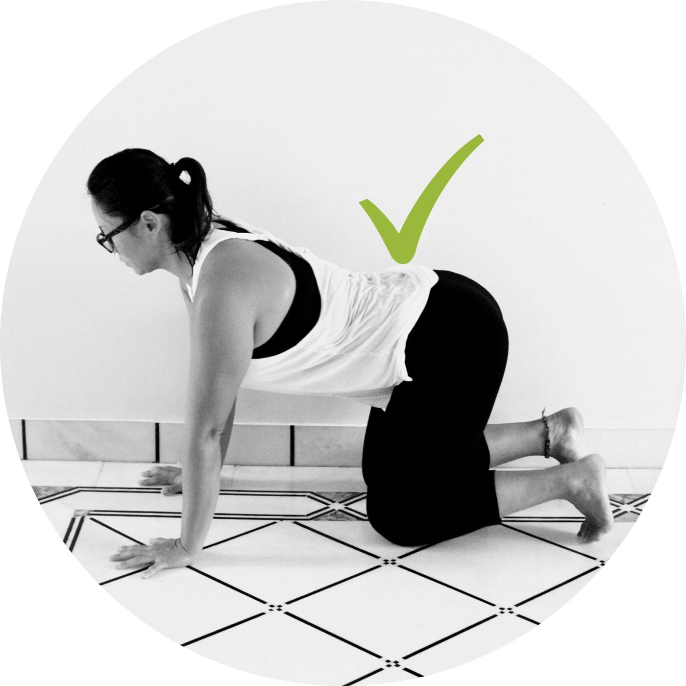 Creating Space in Low Back/ Waist in Tabletop | - Checkpoints:Keep arms fully extended pushing strongly into the floor (shoulders away from ears)Focus on trying to pull/scoop tailbone up to the ceiling