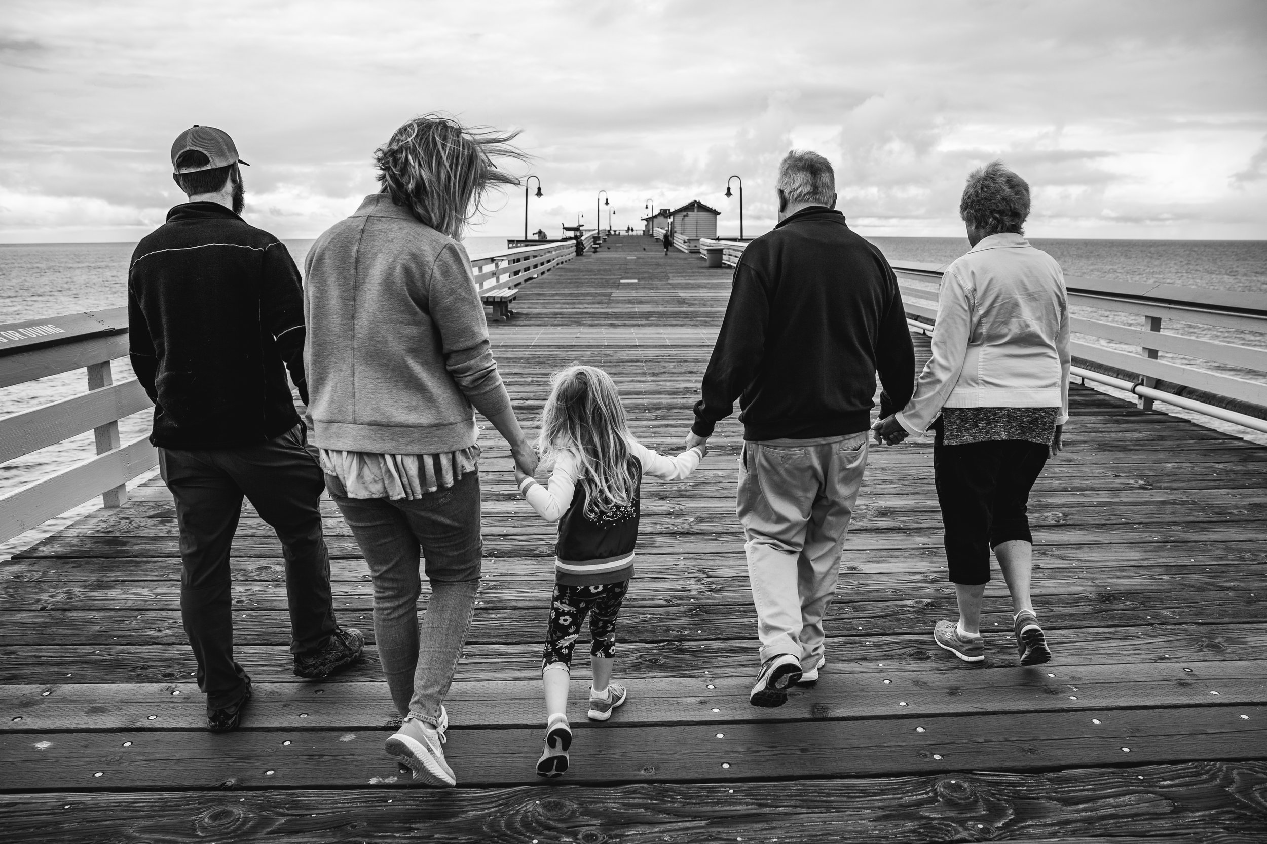 Family photography session at San Clemente Pier