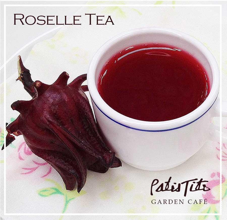 Organic Roselle Tea - locally grown & available at PatisTito Garden Café.