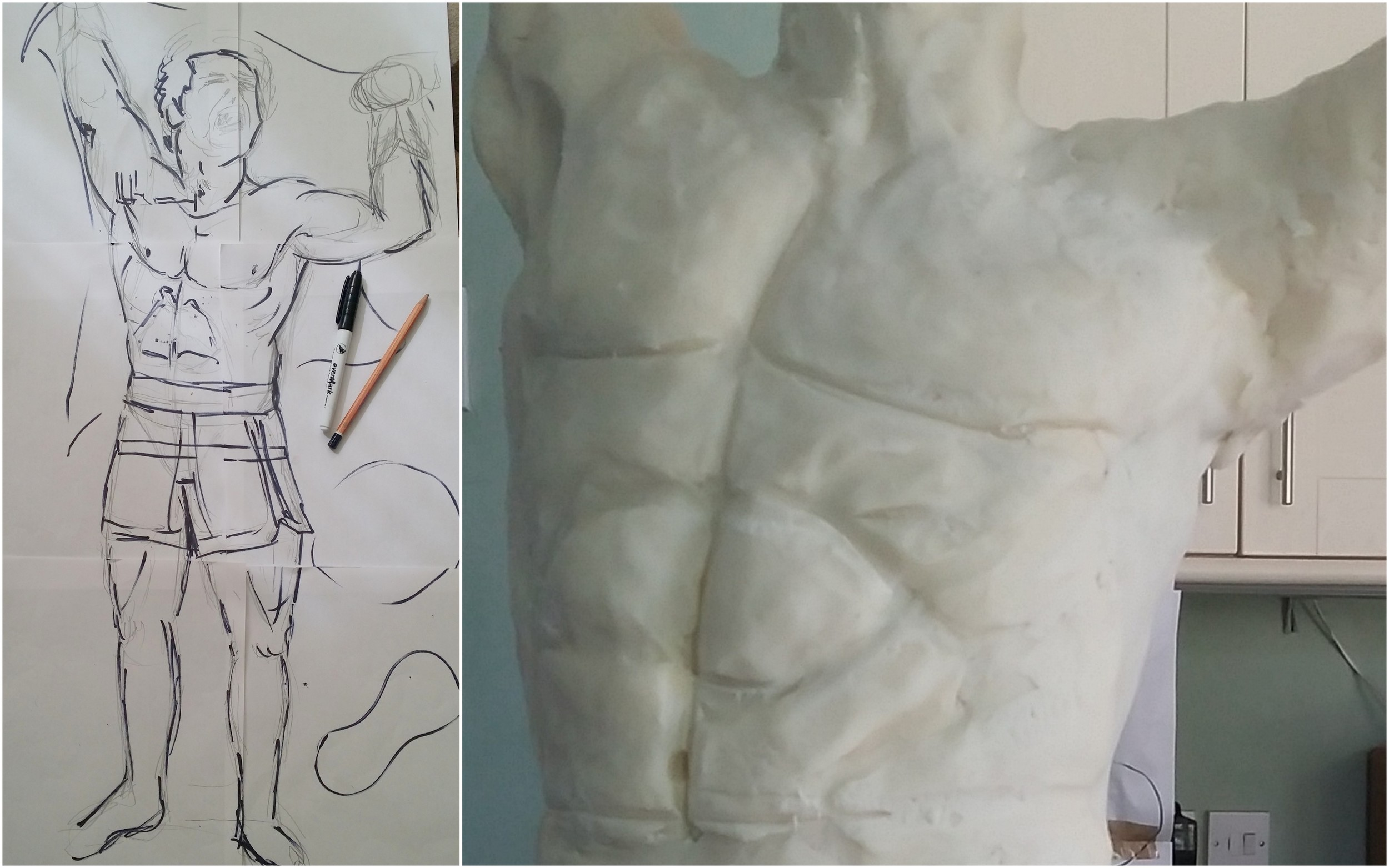 Left: To scale line drawing. Right: The initial beginnings of the torso.