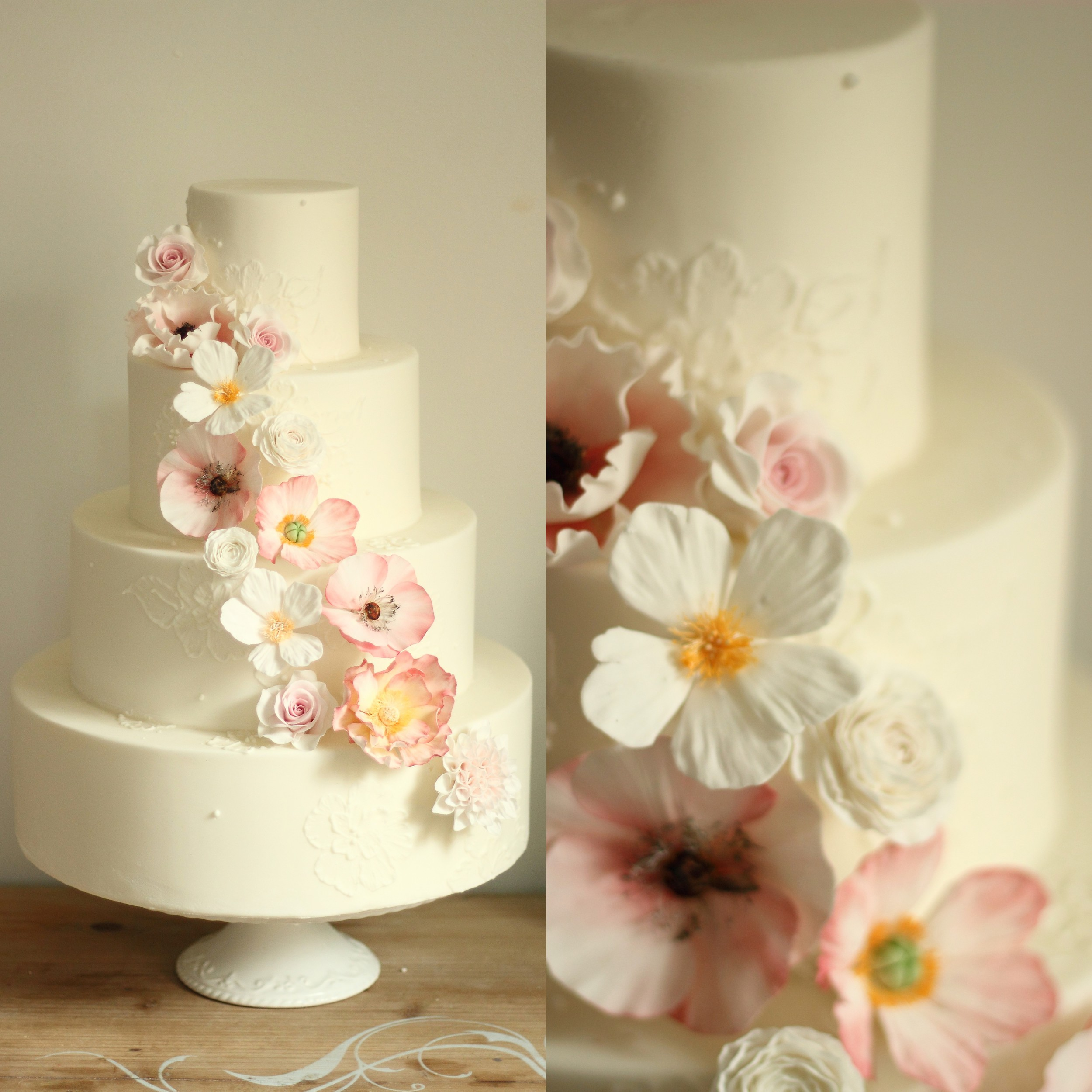 Wild Flower Four Tiered Wedding Cake