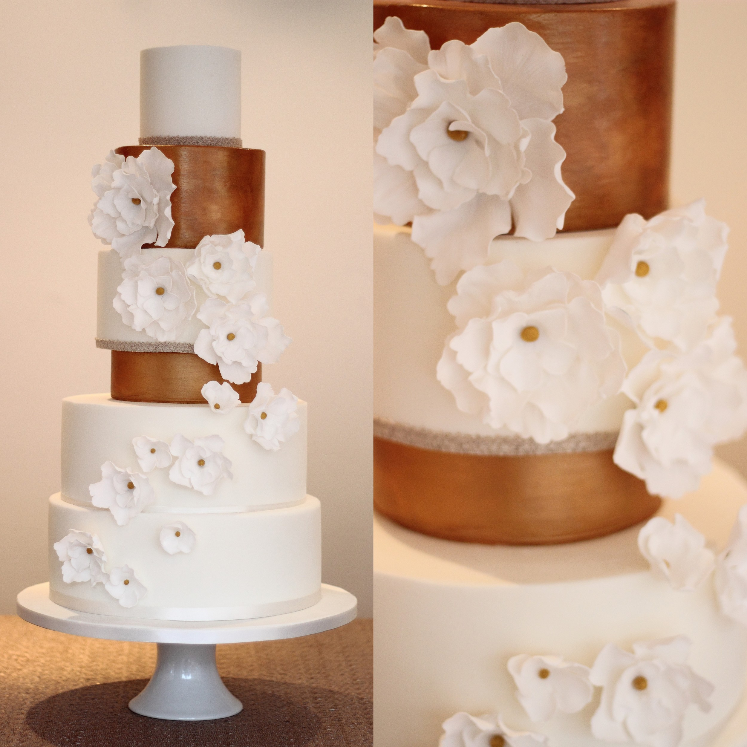 Metallic & White contemporary wedding cake
