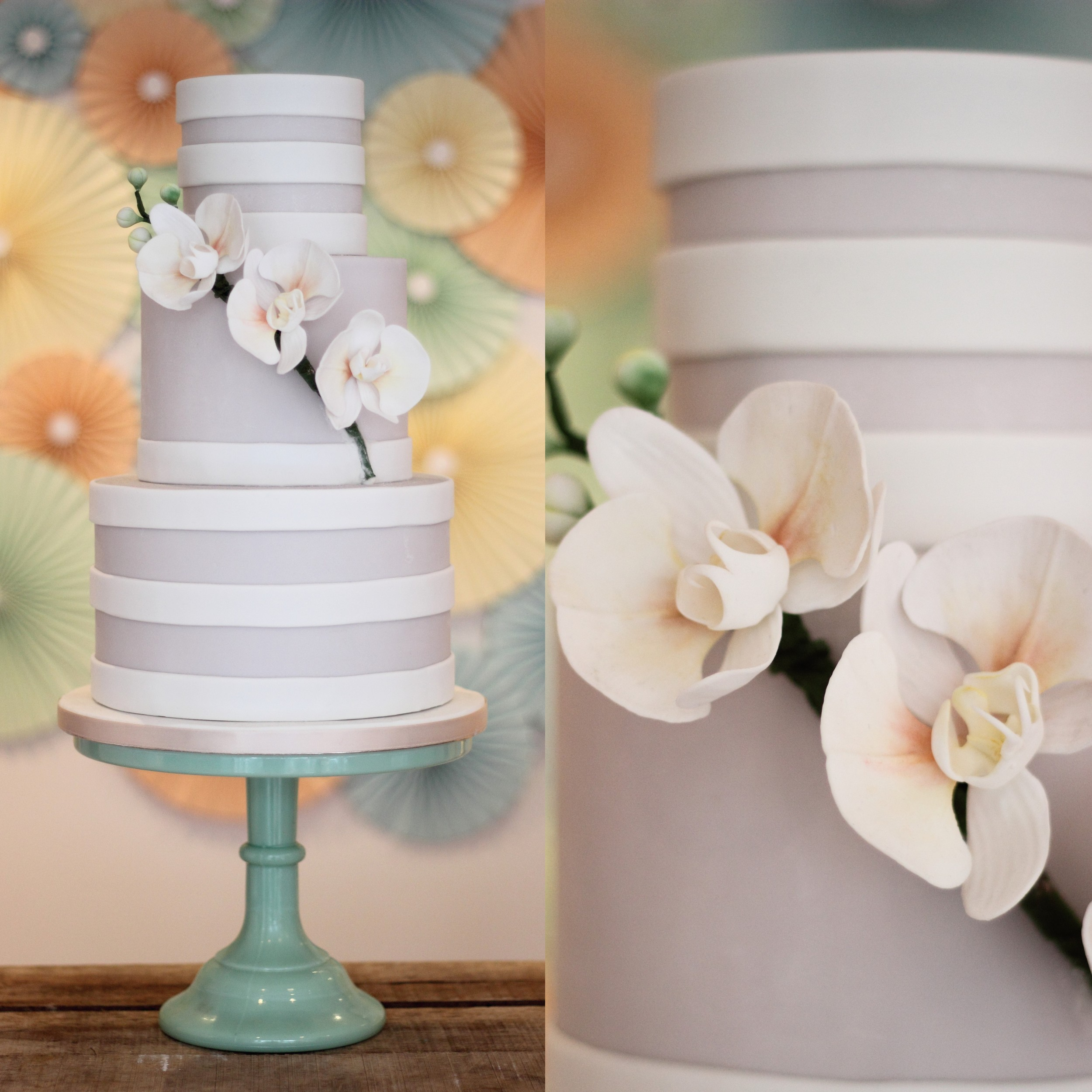 3 Tier grey orchid wedding cake