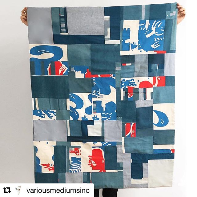 "#Repost @variousmediumsinc ・・・ S H A V E D  I C E  This quilt started life as a ""Nobori"", a Japanese shop banner or flag used to advertise a store or stand. In this case it came from a Kakigōri shop selling shaved ice.  I came across it in a vintage store and was immediately drawn to the vibrant color which evoked the beach and summertime in me long before I understood the characters meaning.