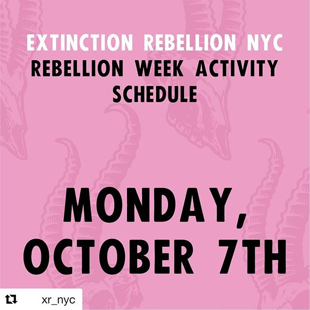#Repost @xr_nyc  For the full schedule and the latest updates check xrr.nyc or click link in bio.  #XRNYC #EverybodyNow #ExtinctionRebellion #ExtinctionRebellionNYC #climatechange #climatecrisis #climateaction #RebelForLife #ActNow #ClimateEmergency #NYCEvents #NYC