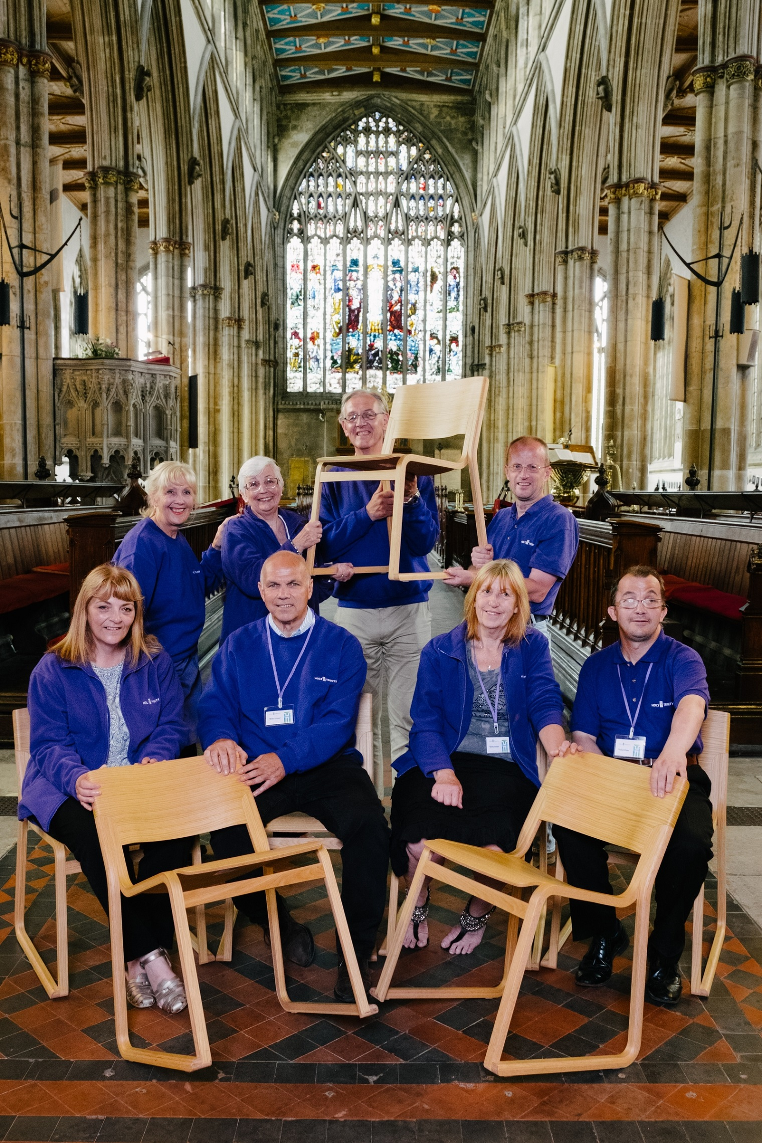Supporting the appeal for new chairs for historic Holy Trinity Church are volunteers, back, from left, Nancy Brown, Julia Allum, Ray Taylor and David Ideson and front, from left, Linda Saddington, John Lawson, Janet Goforth and Chris McInnes.
