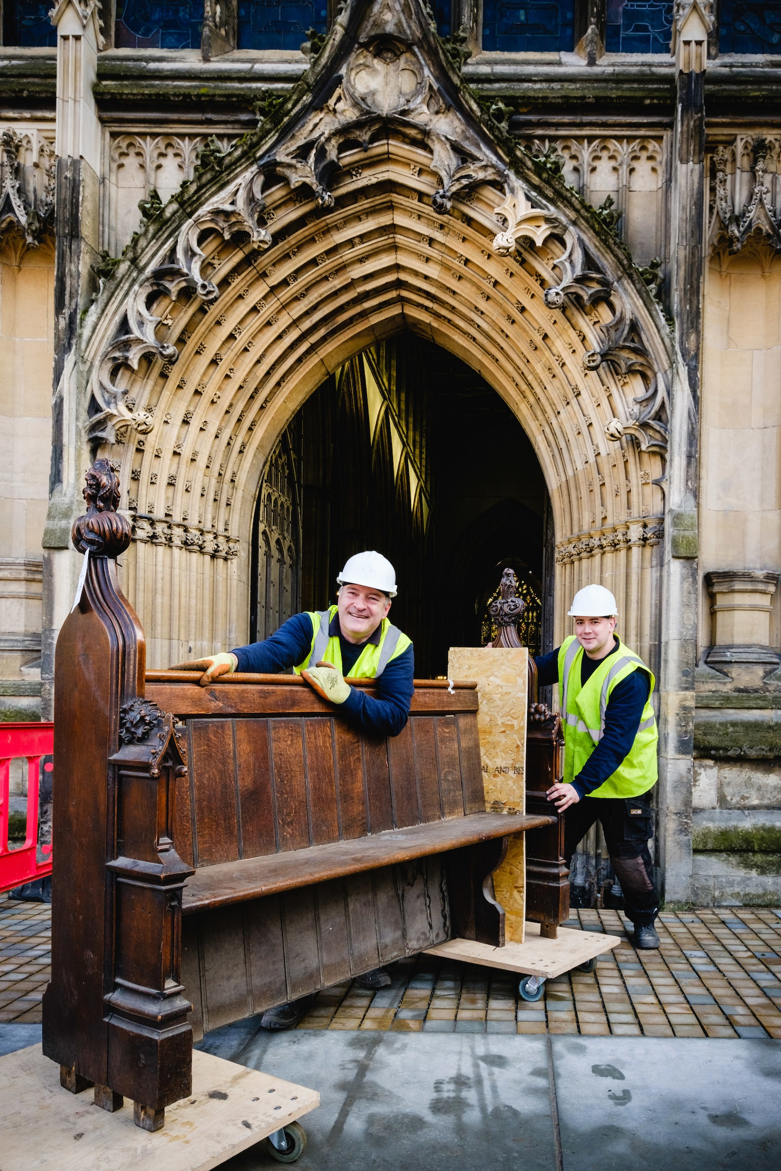 Wood carvers Andrew Martindale, left, and Andy Thompson are part of the specialist team charged with preserving the heritage of the Victorian pews at Holy Trinity Church.