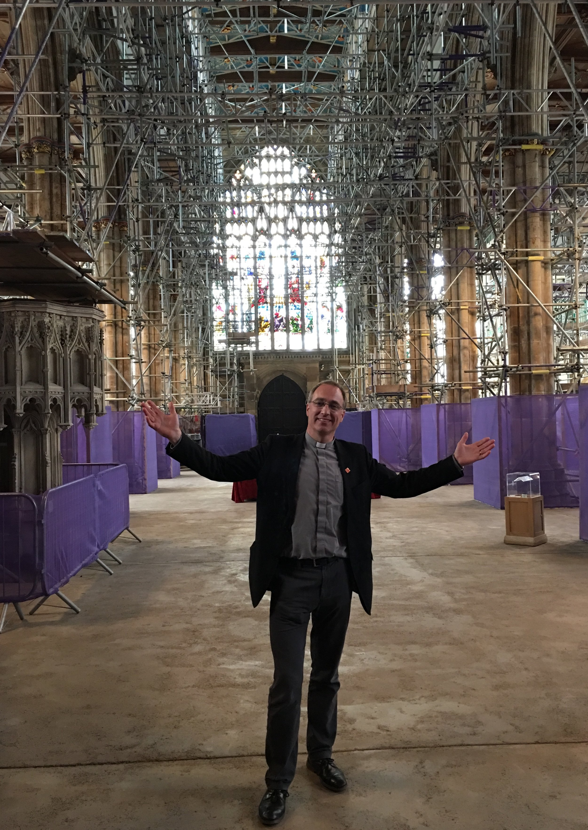 The Vicar of Hull Minster, the Rev Canon Dr Neal Barnes, within the nave,which is currently being transformed by the church's development project.