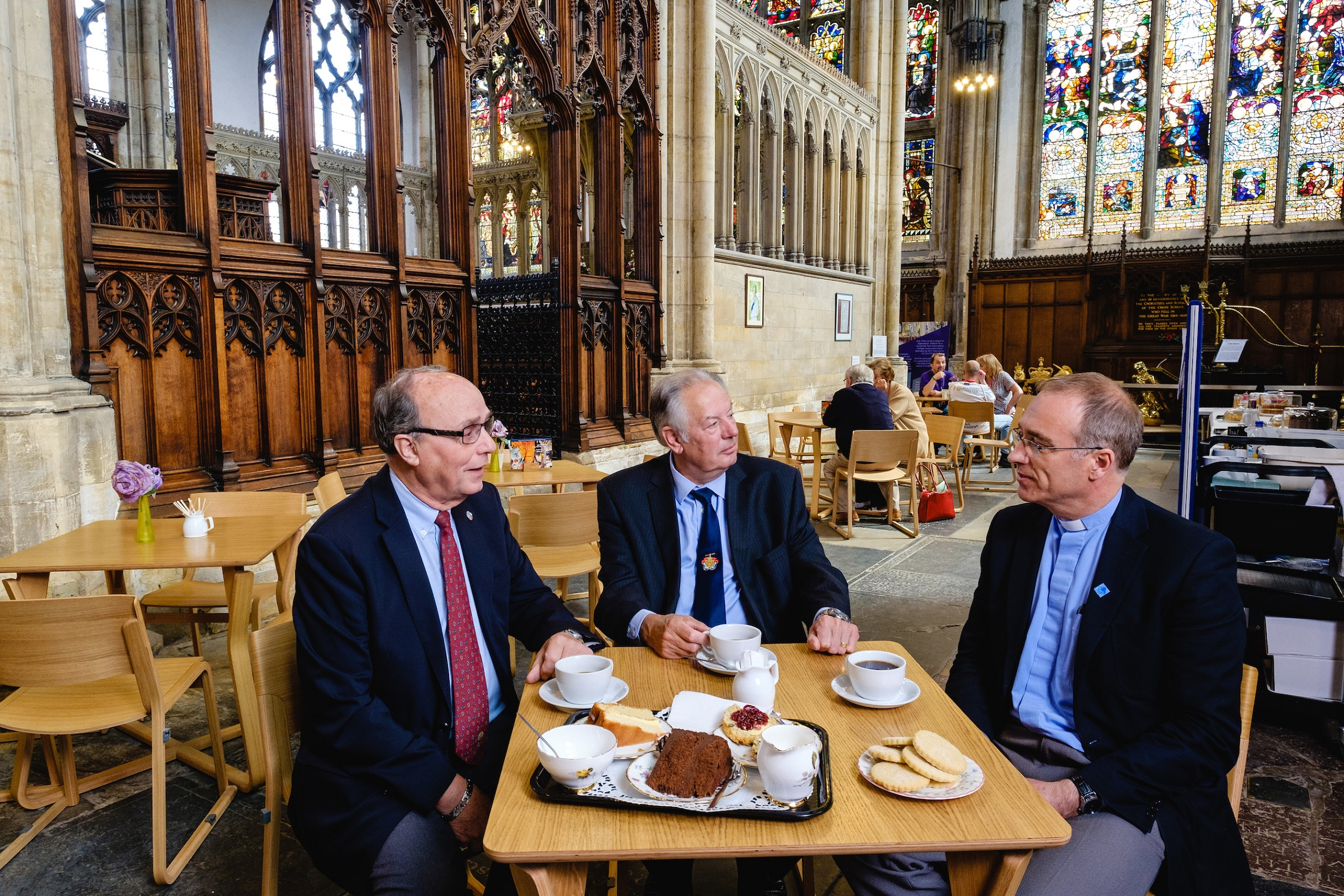 Hull Minster is aiming to raise £100,000 from the dedication of new seating. Robin Mason, from the Rotary Club of Hull, left, and Captain Dennis Robinson, of Trinity House, pictured with Vicar Neal Barnes, are among supporters who have backed the fund-raising campaign