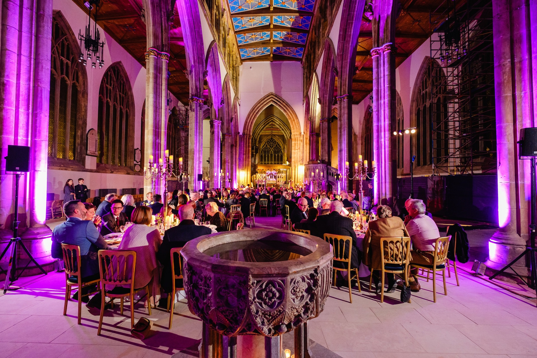 Now cleared of pews and with newly-installed limestone flooring, Hull Minster's Nave provided a fabulous setting for the church's fund-raising gala dinner.