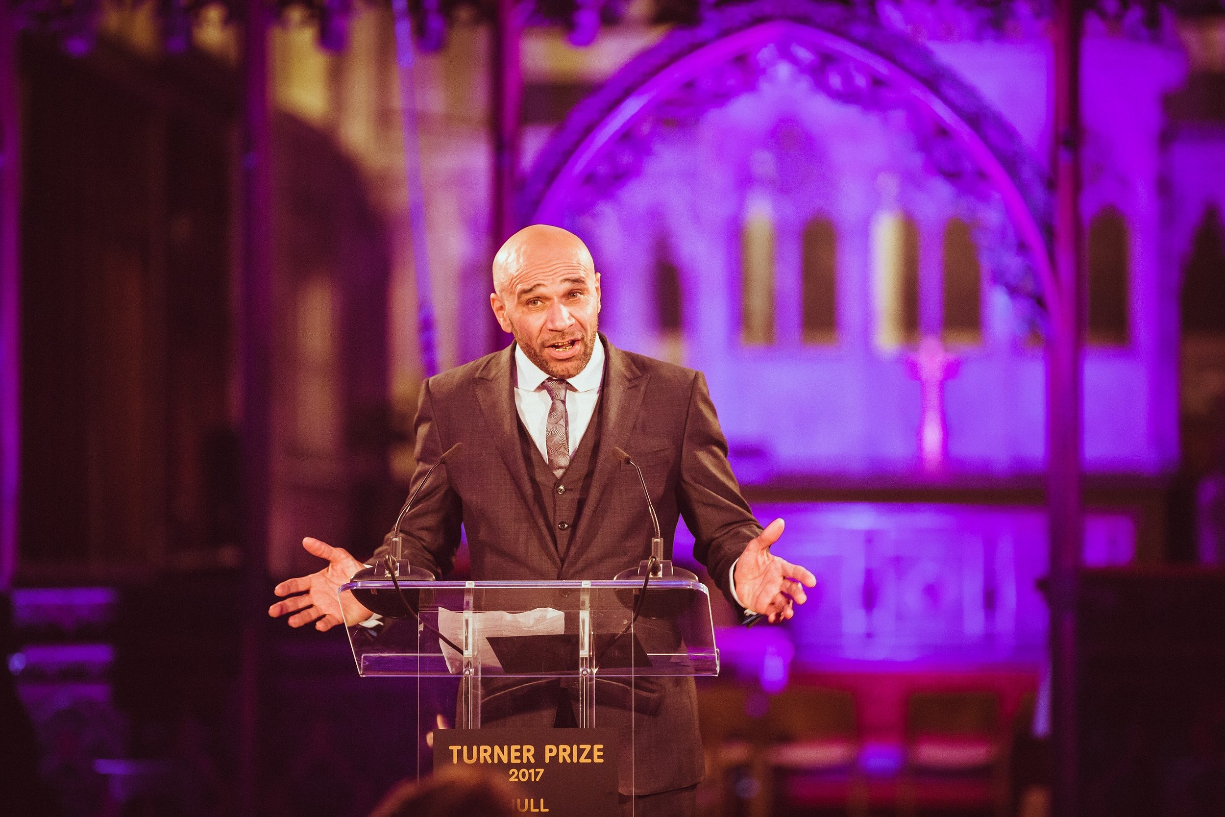 Artist, musician and actor Goldie prepares to announce the winner of the Turner Prize 2017. Picture: Chris Pepper/Hull UK City of Culture 2017