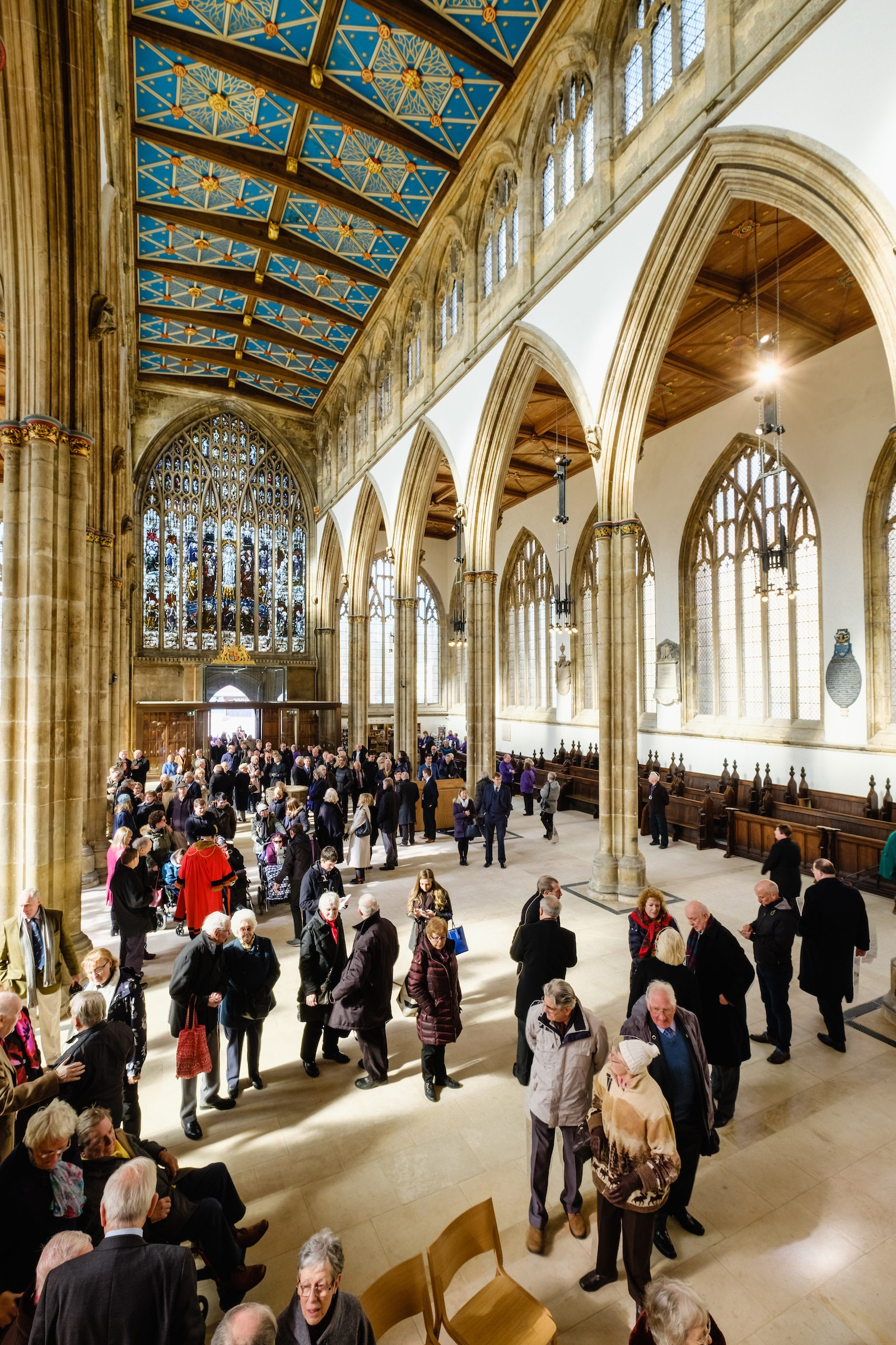 Guests enjoy the space and light within Hull Minster's Nave, now cleared of the crowded pews introduced by the Victorians.