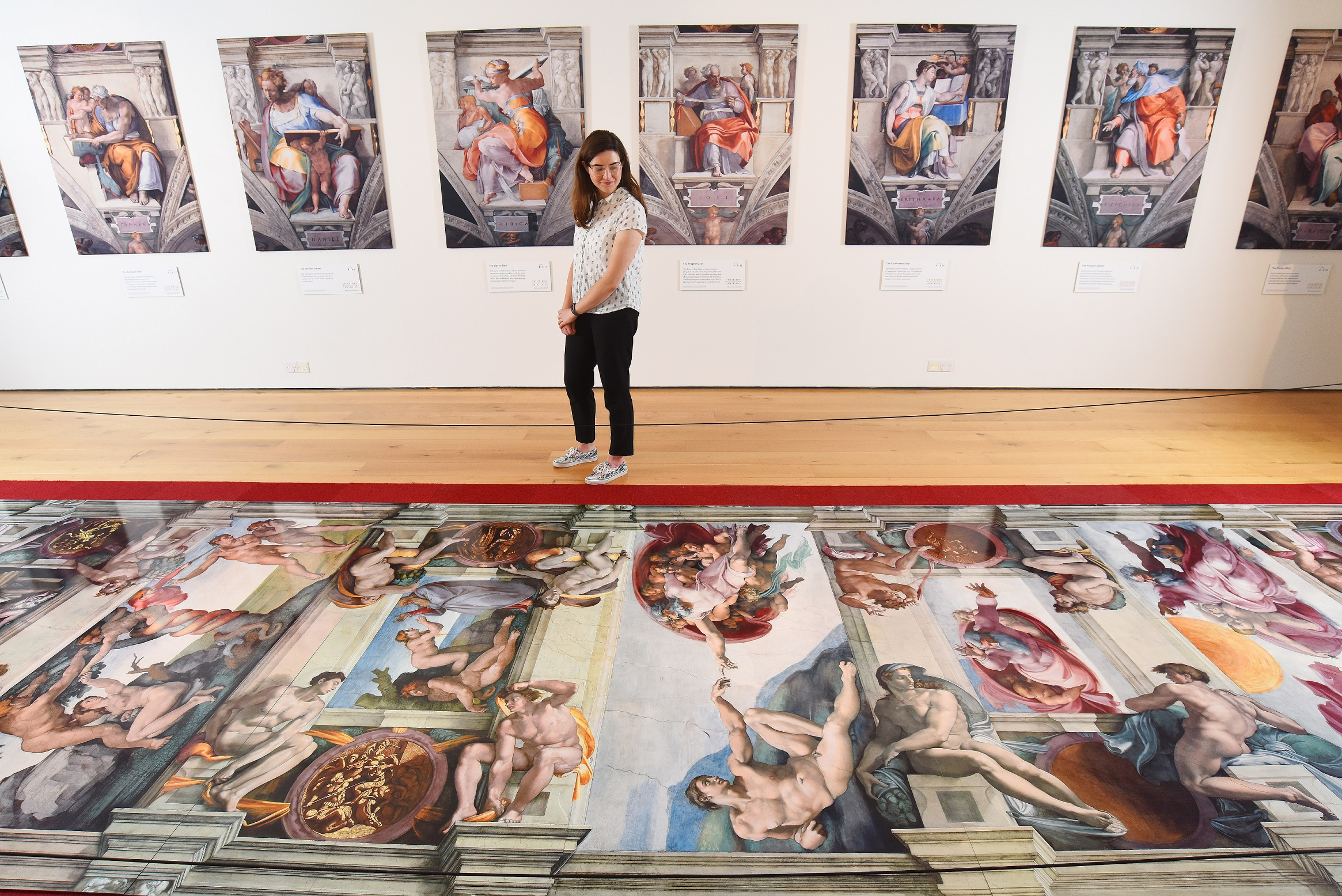 "A visitor admires ""Creation of Adam"" in Winchester, the only other UK venue for the must-see exhibition of Michelangelo's famous Sistine Chapel masterpiece. Picture: Solent News & Photo Agency."