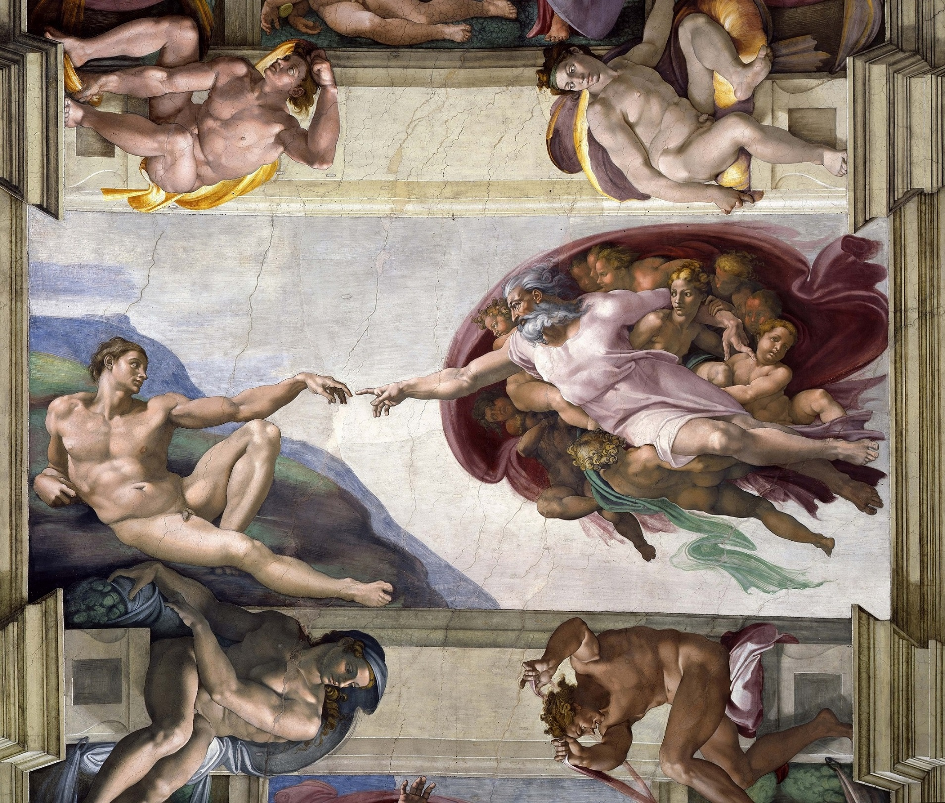 "The exhibition of the Sistine Chapel artwork includes the most famous painting of them all, ""Creation of Adam"", a depiction of God giving life to the first man. Image: E4Y."