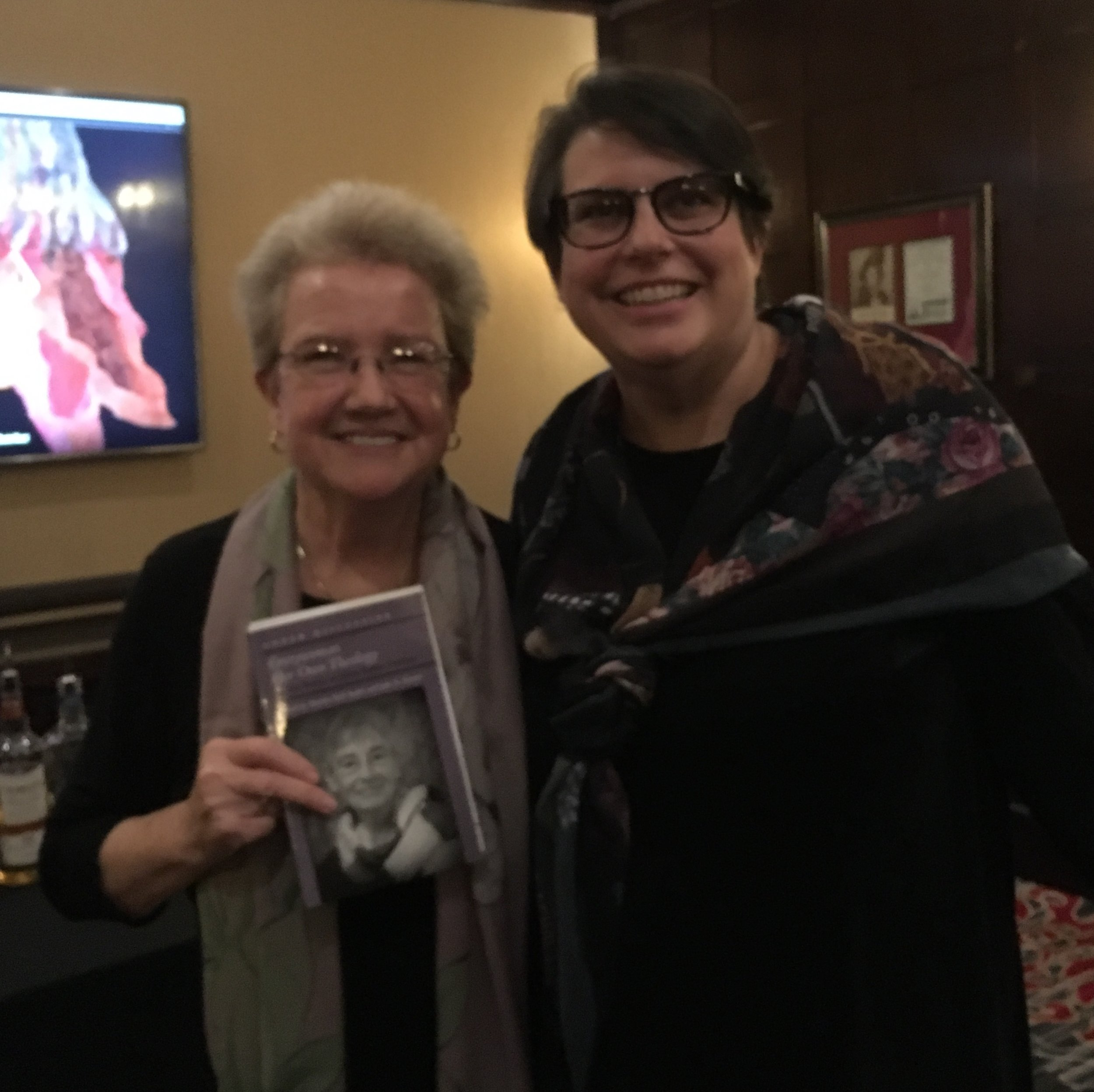 Martha Nell Smith and Julie R. Enszer, editors of Everywoman Her Own Theology: On the Poetry of Alicia Ostriker, at the Algonquin, November 2018.