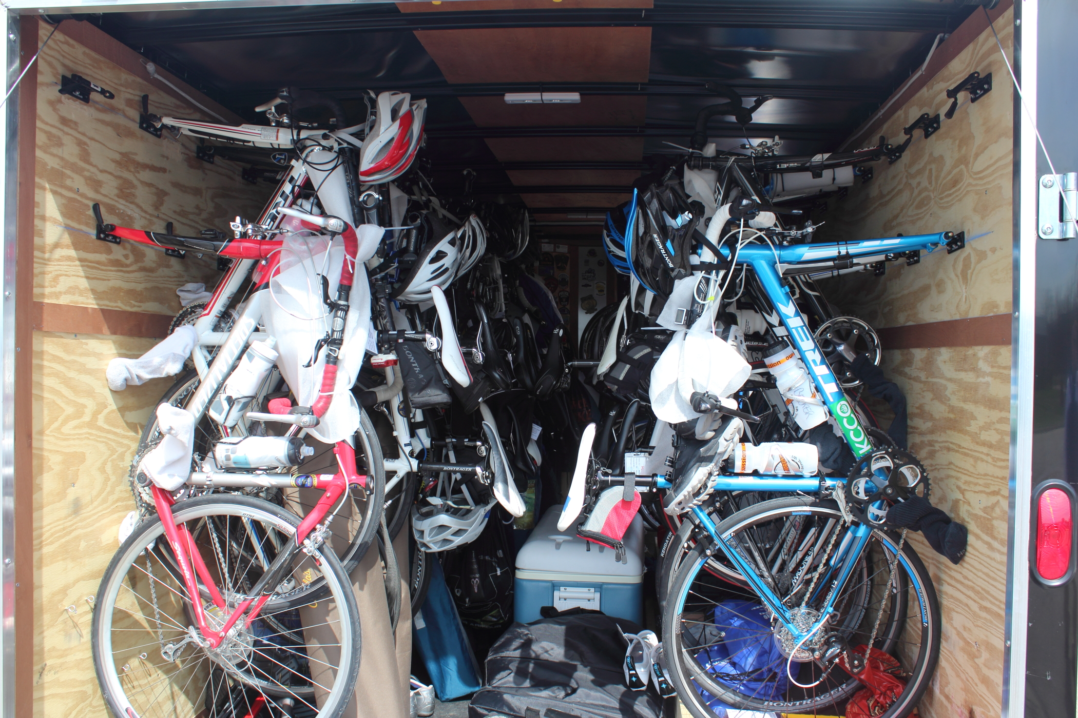 The bikes packed in the trailer and ready to head to New Jersey.