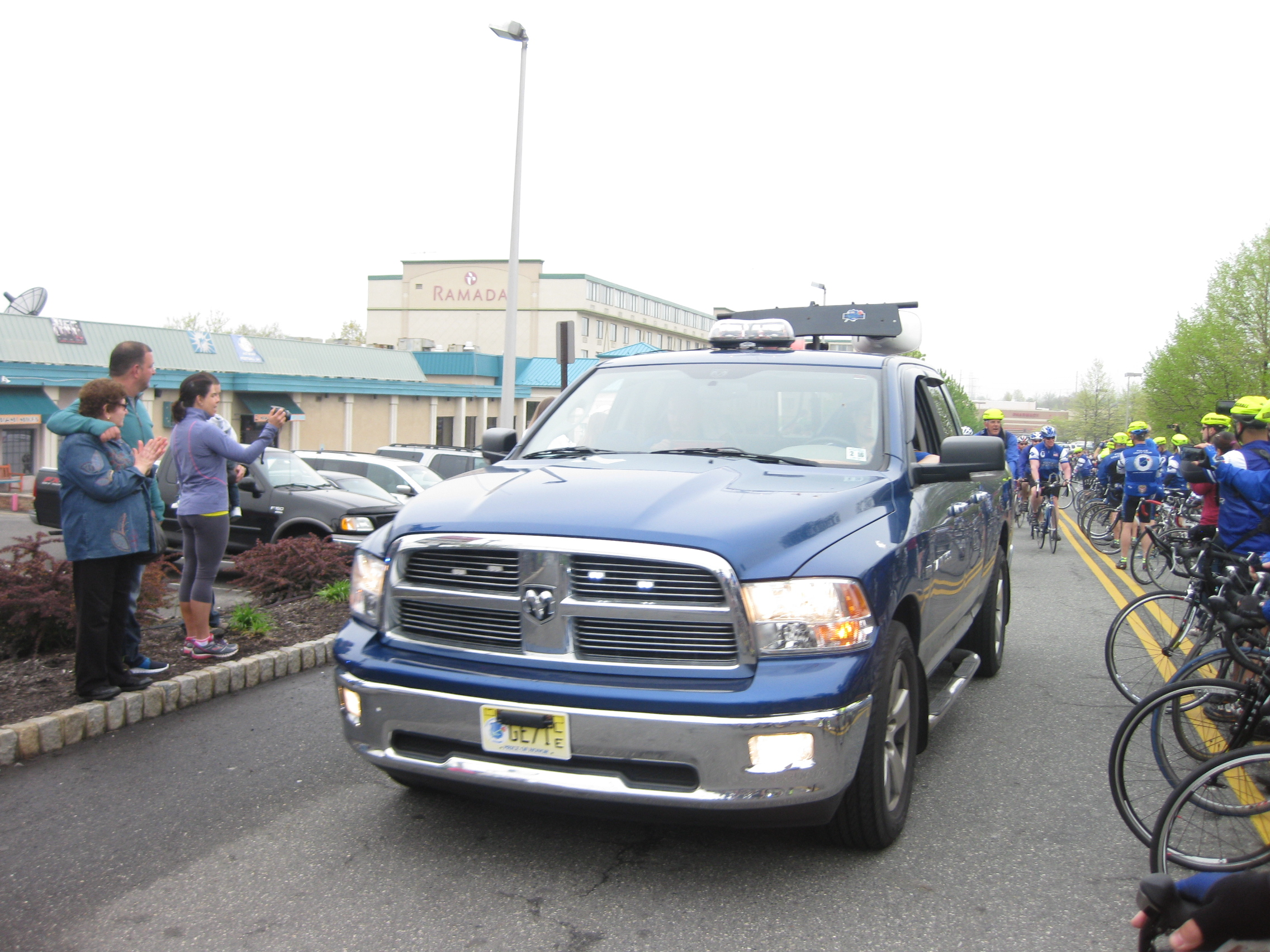 The lead truck of the tour starting the ride on Day 1.
