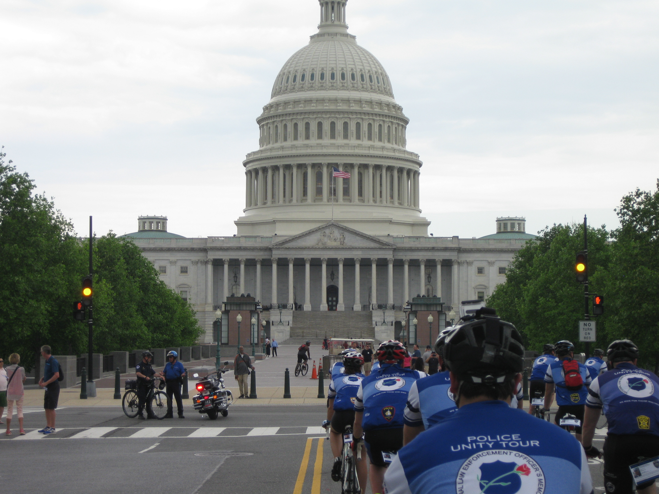 Riders approach the U.S. Capitol on their way to the memorial.