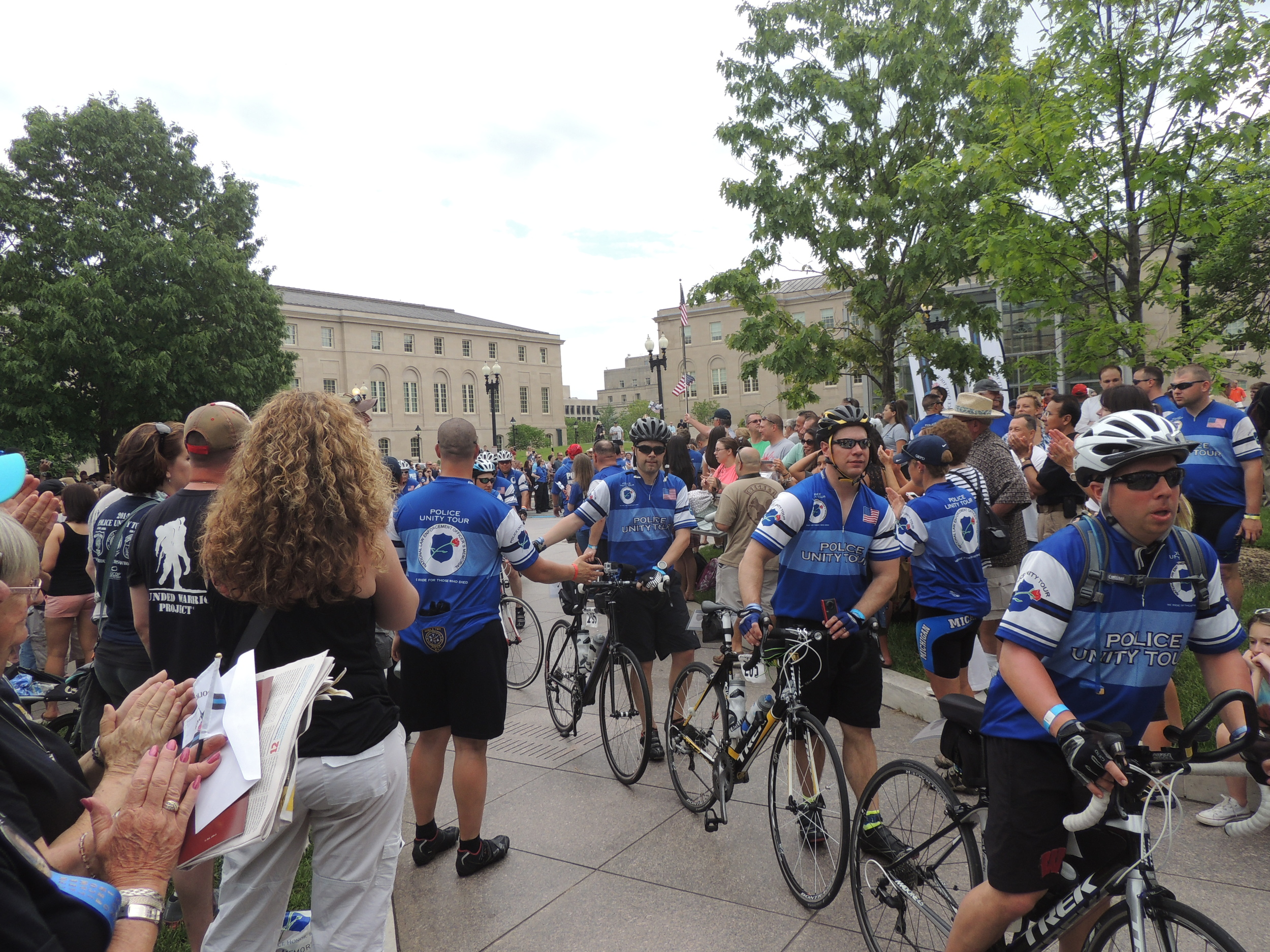 Riders arriving at the National Law Enforcement Officers Memorial.