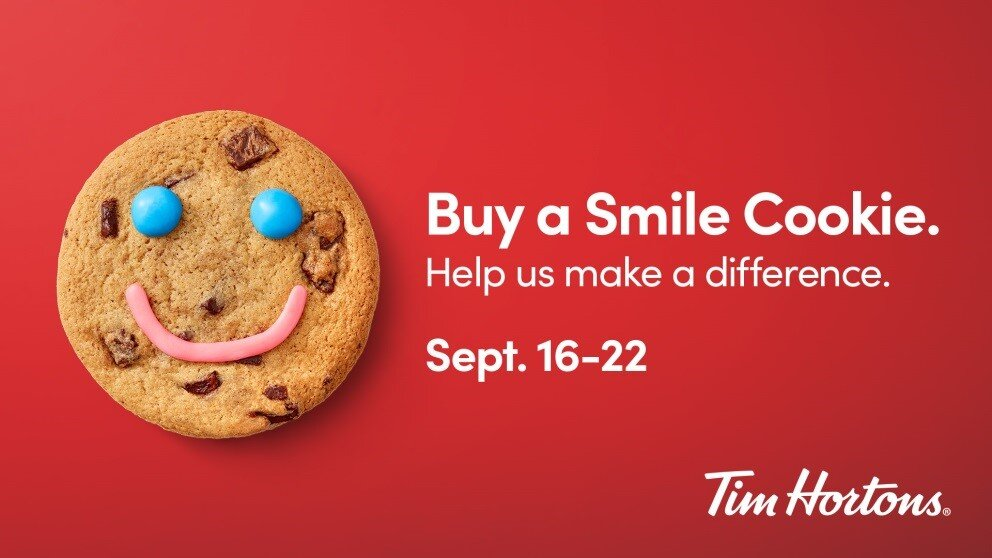 Get a Smile, Give a Smile and Make a Difference – Tim Hortons® Smile Cookie Campaign is Back!    $1 from every Smile Cookie sold supports the Taber & District Health Foundation.