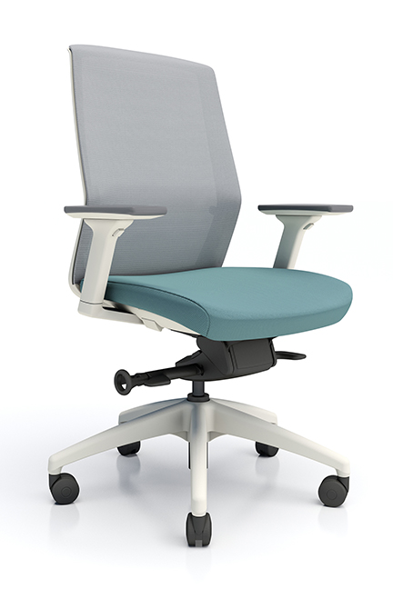 Advanced mesh back and upholstered seat, J1 offers a complete comfort package as the standard offering.