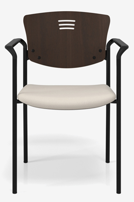 Snowball 3 with wood back and upholstered seat is perfect for your meeting room, conference room, waiting room, cafeteria, lounge, office....
