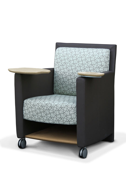 An iconic chair of SIMO's, with a swivel tablet and cup holder allowing users to quickly transform a chair into an quick collaborative space. Front casters and back handle allow users to pick up the chairs and roll it them from one meeting area to the next.