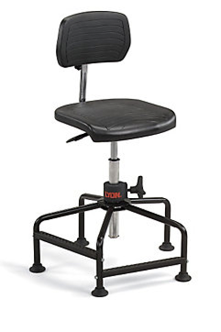 Quality LYON Polyurethane Task Stool stool stands up to heavy-duty use. Includes two polyurethane-over-steel footrests for comfort and support.