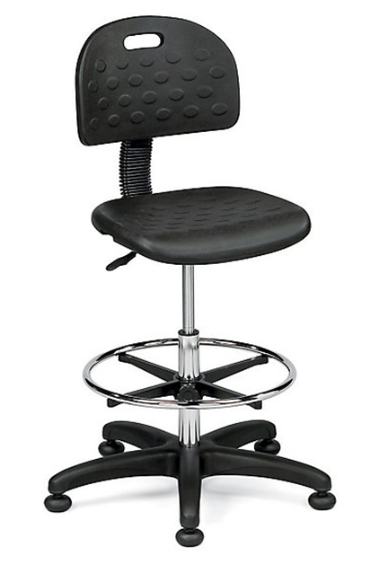 Soft form-moulded polyurethane upholstery. Pneumatic adjustment. Adjustability includes: back height, seat height, and footring height. Optional arms available.