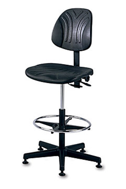 """Recommended for 24-hr. continuous use. Self-skinned polyurethane. Lifetime guarantee on pneumatic cylinder. Sturdy 27"""" dia. reinforced plastic base. Pneumatic seat height adjustment."""