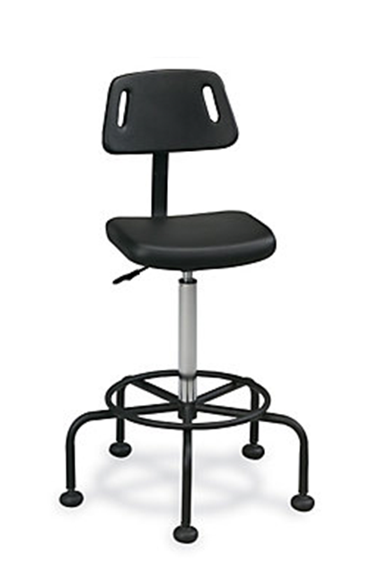 Soft-form moulded polyurethane upholstery. Five-leg tubular black base includes a supportive footring. Adjustability includes seat height.