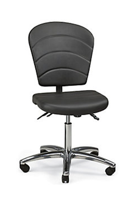 Polyurethane upholstery. Adjustability includes: seat height and manual back height. Optional arms available.