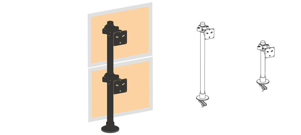 Secure mounting solution for 2 flat panel monitors stacked vertically