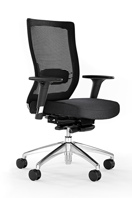 Characterized by sleek polished aluminum details and a breathable mesh back, Obi ensures seated comfort while providing a refined aesthetic.