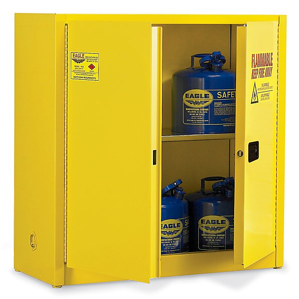 """Rated for type I and II containers up to 5 gallons in size. Features double-wall, 18-gauge welded steel construction with 1-1/2"""" air space that prevents build-up of explosive gases."""