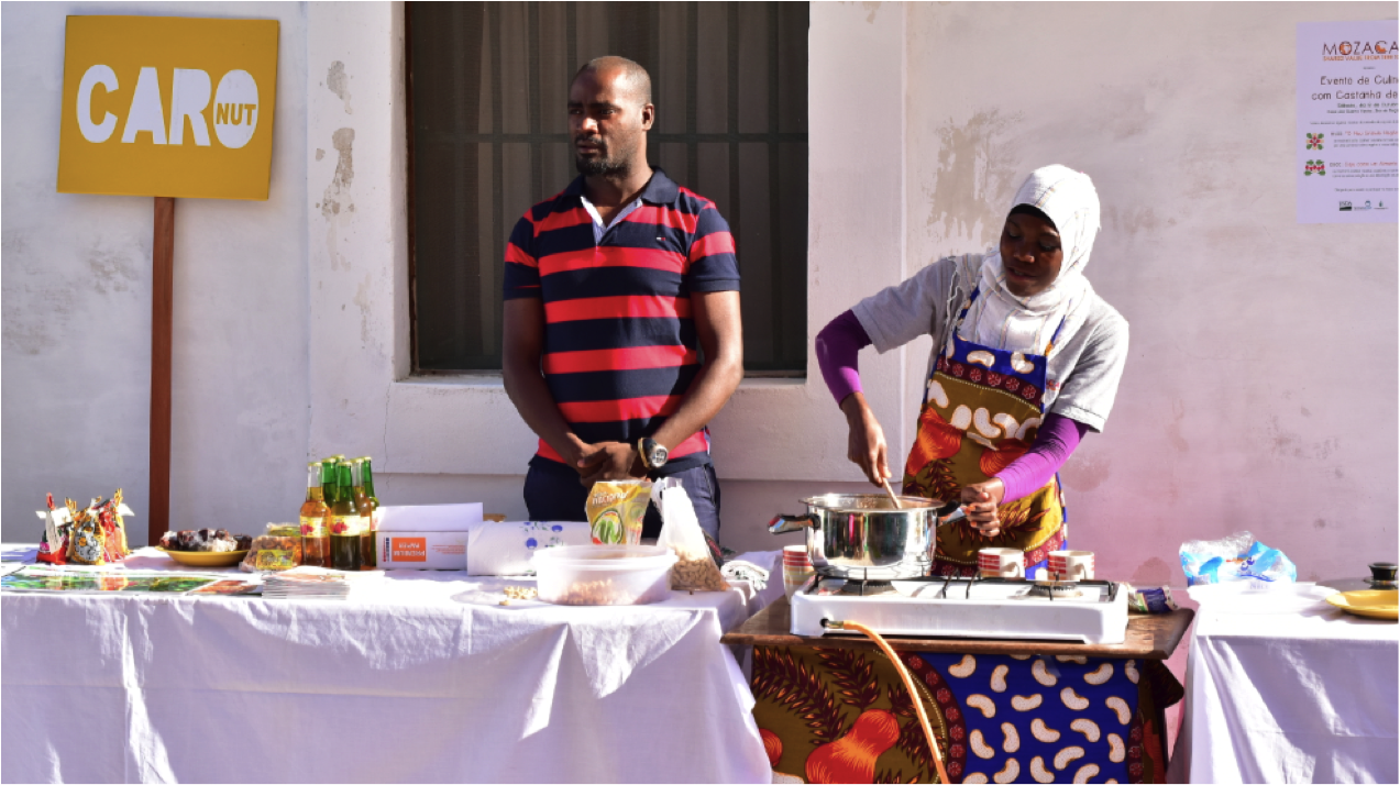Mida Juma and Anacleto Mart demonstrate various cashew nut recipes at a MozaCajú event earlier this month