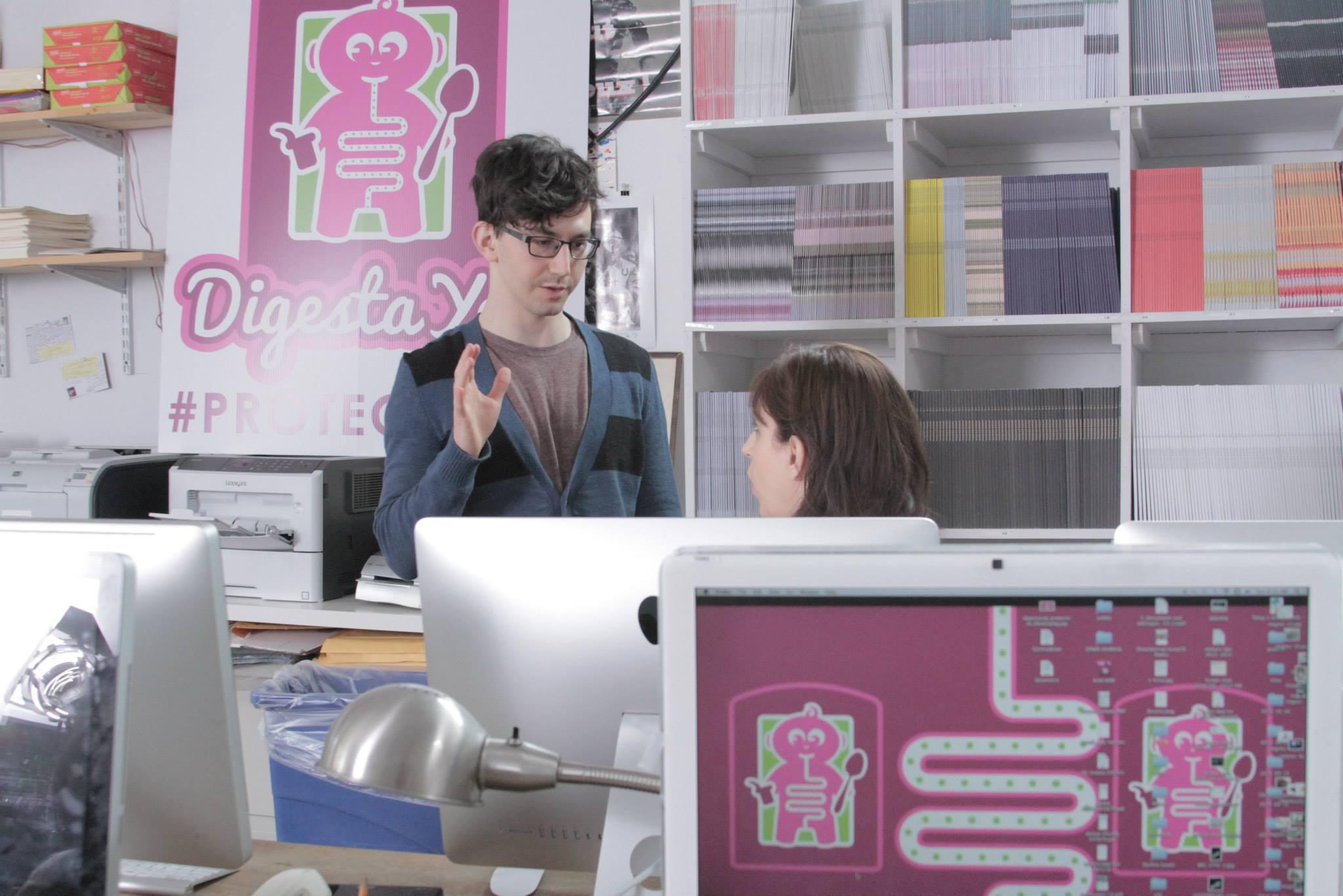 Director Daniel Goldberg imparts wisdom with his hand.