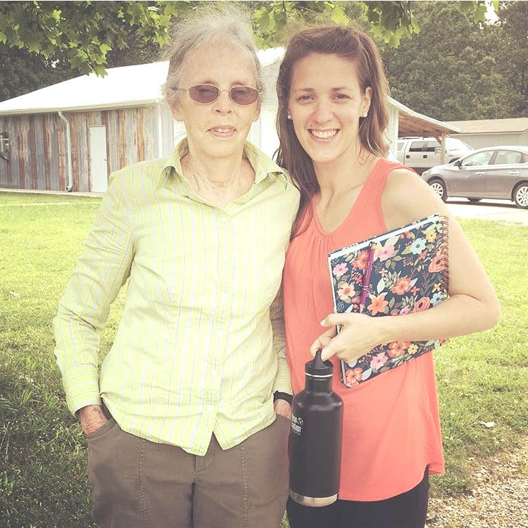 Corinne visiting Ina May Gaskin at her home in Tennessee, May 2017