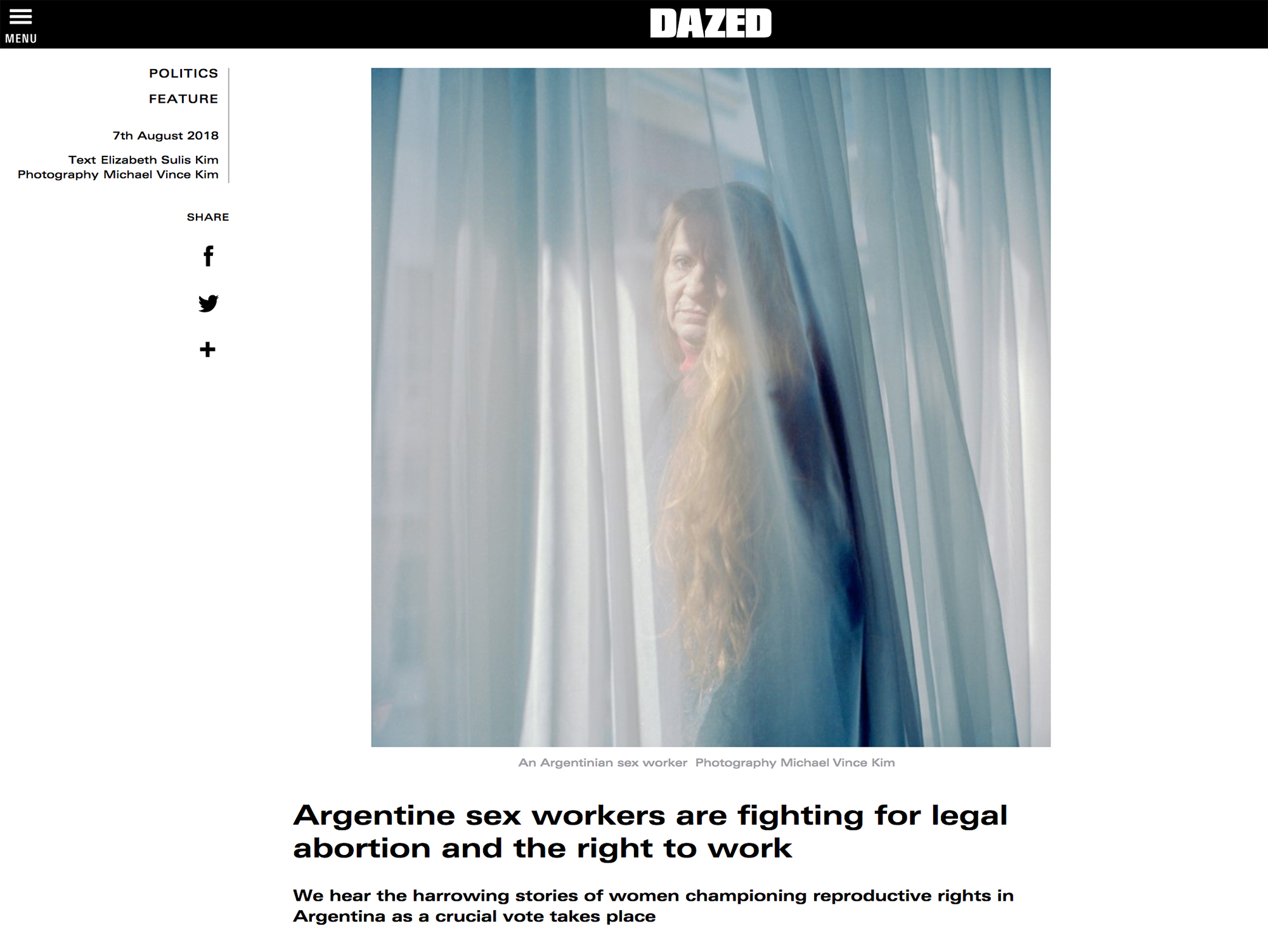 DAZED: Argentine sex workers are fighting for legal abortion and the right to work