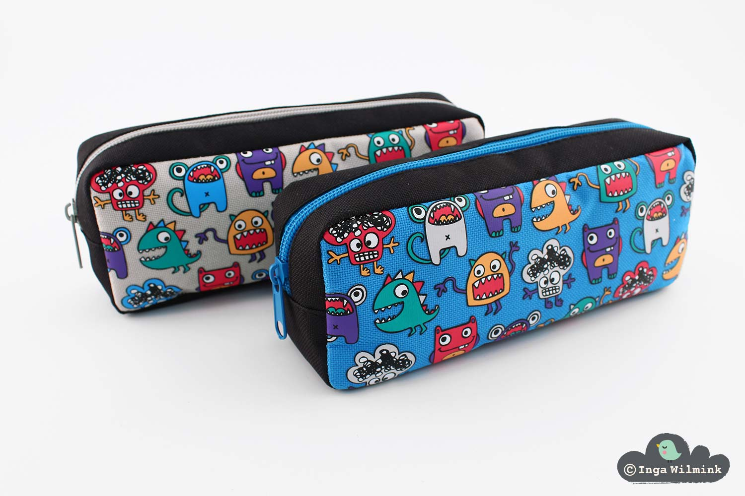 Monster Pencil Case - Surface Pattern Design by Inga Wilmink