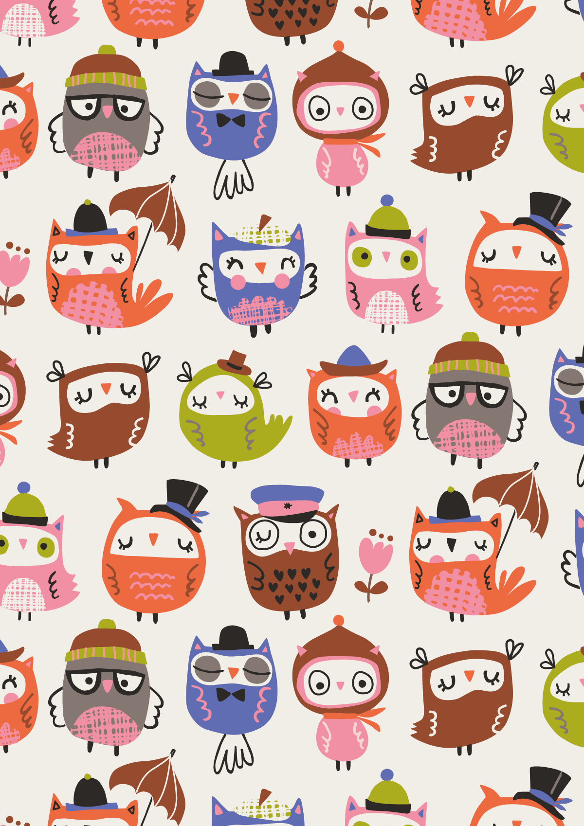 Inga Wilmink for Jo-Ann Stores - Owls fabric