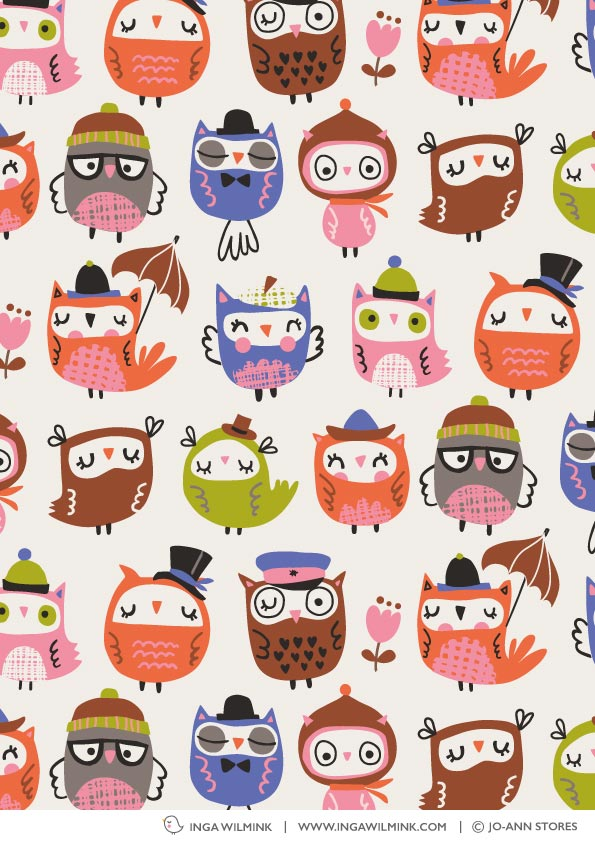 Inga Wilmink for Jo-Ann Stores - Owl fabric