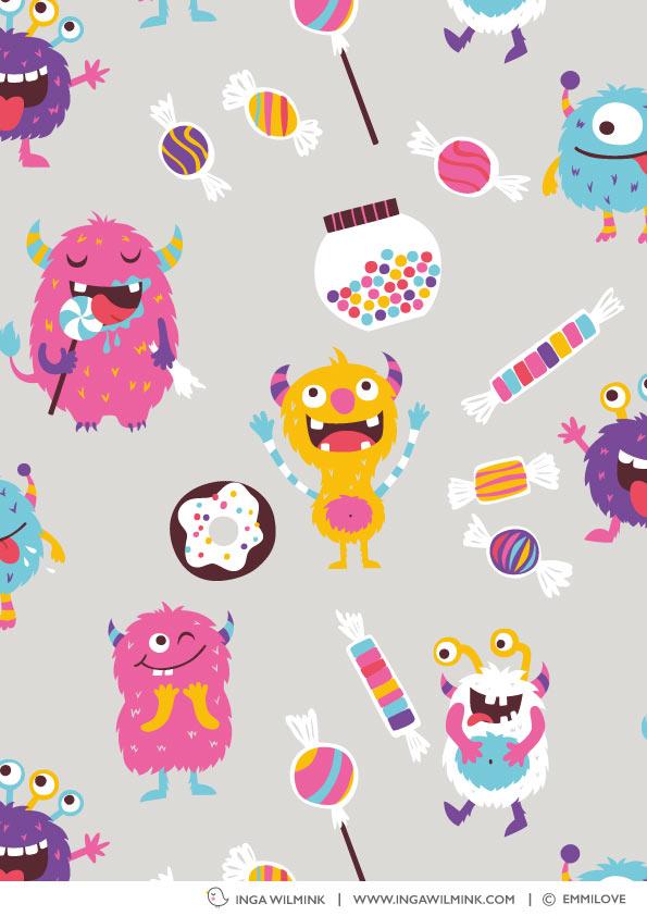 Inga Wilmink for Emmilove - Sweetie Monsters fabric