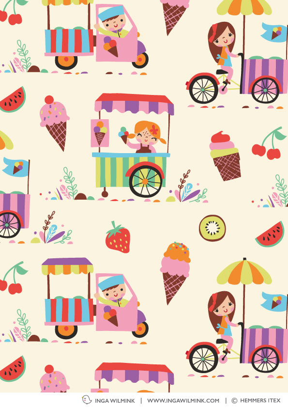 Inga Wilmink for Hemmers Itex - Ice Cream fabric