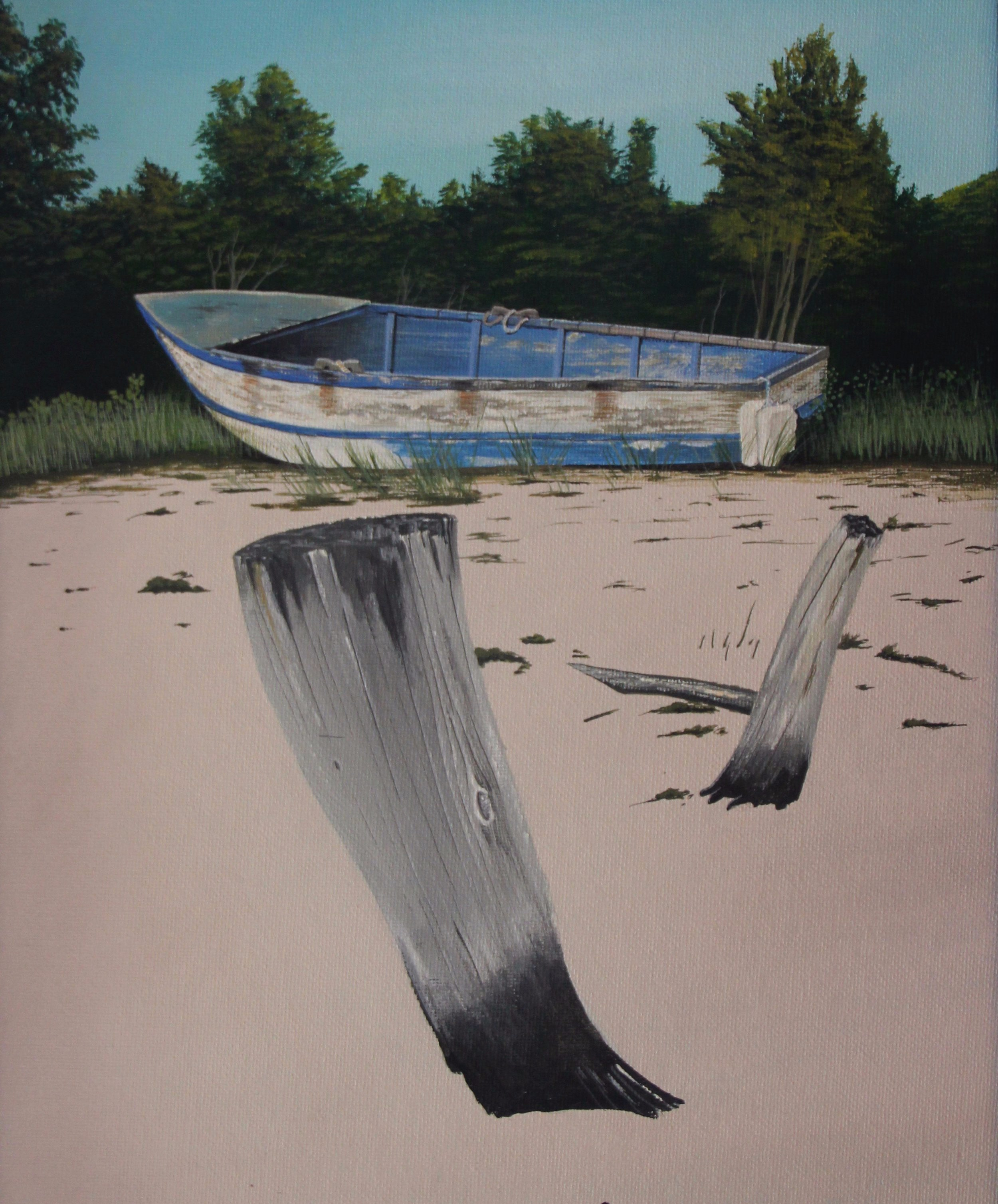 "Blue Boat   11"" x 14""  $350."