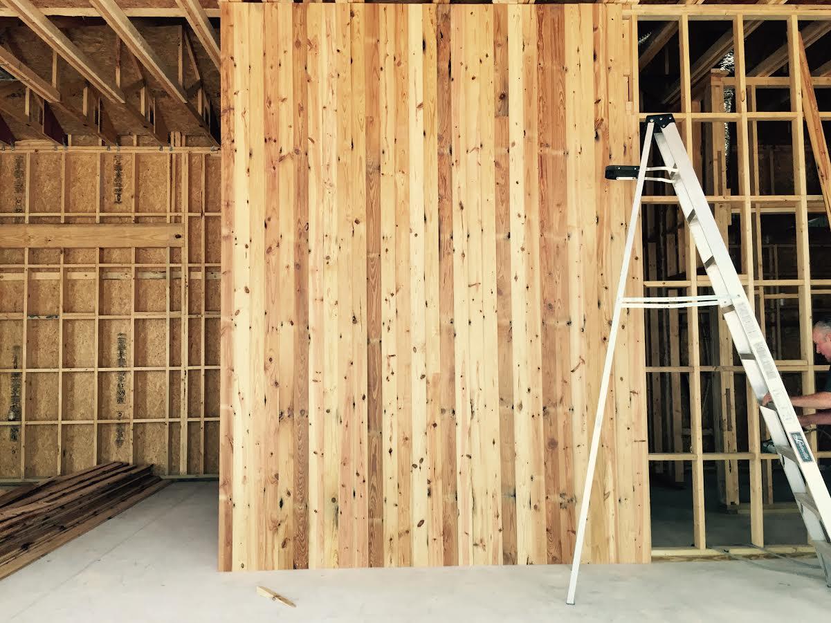 New Interior of Alex Gloria's.Reclaimed wood, milled at  Vintage Mills , East Austin.