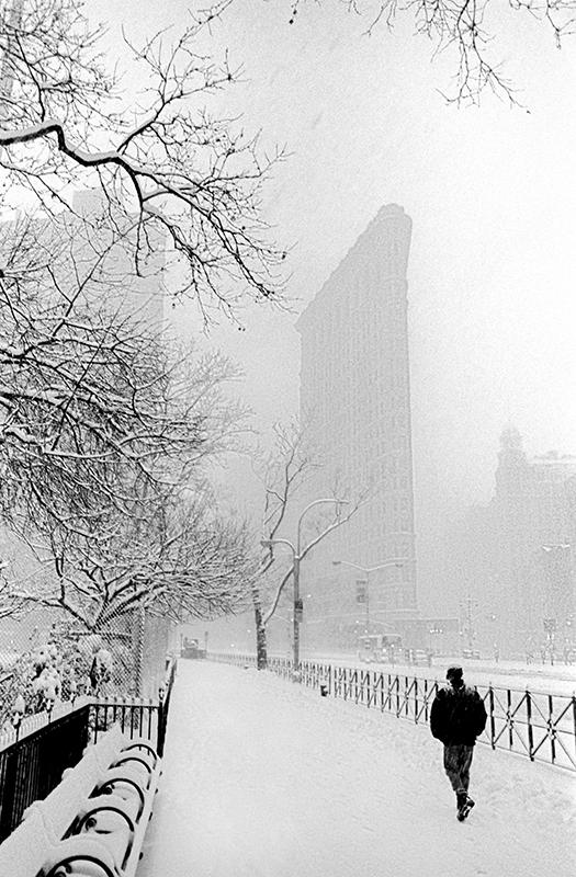 Flatiron Building in the snow.