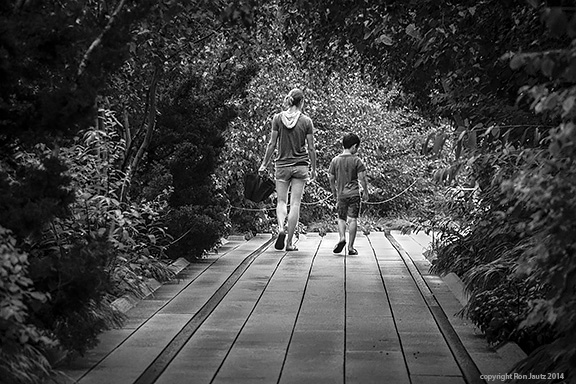 The High Line Park on New York's west side is a lovely place for a stroll, but on a rainy morning as this, few people are there.  I saw the potential of this scene but it needed the right focal element--people.  I stood in the rain for at least 10 minutes before I saw this mother and son walk toward me.  I let them pass then took out my camera and framed the shot.  The woman's umbrella didn't look right but at the last minute she folded it under the canopy of trees; I snapped off four quick frames and caught one where they were in synchronized step.