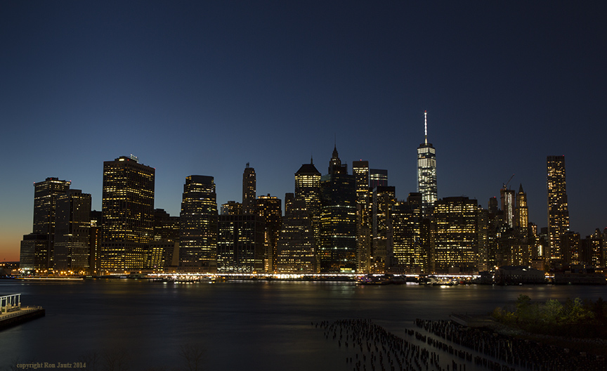 Lower Manhattan photographed from Brooklyn Heights.  ISO 200, 15 sec. at f16, 35mm lens