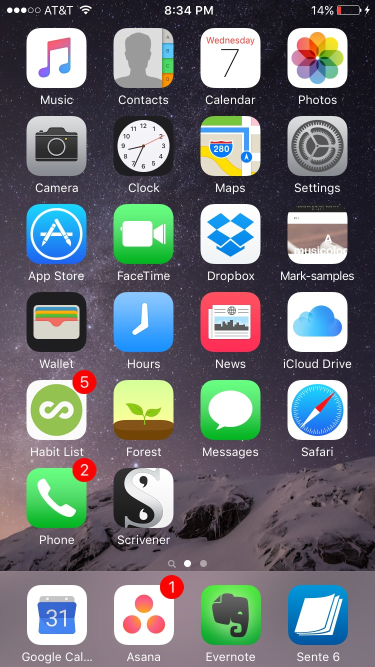 My iPhone home screen, with workflow design in the dock.
